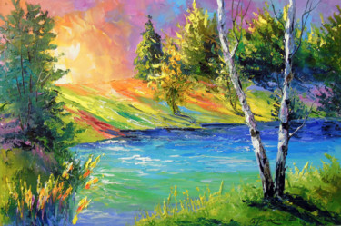 """Painting titled """"Two birches at dawn"""" by Olha, Original Art, Oil"""