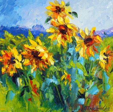 """Painting titled """"Sunflowers and wind"""" by Olha, Original Art, Oil"""