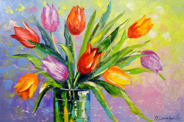 """Painting titled """"Bouquet of multi-co…"""" by Olha, Original Art, Oil"""