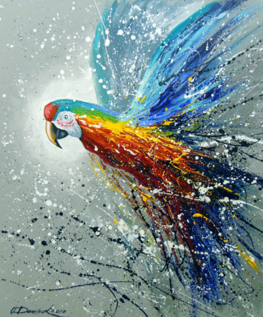 """Painting titled """"Parrot in flight"""" by Olha, Original Art, Oil"""