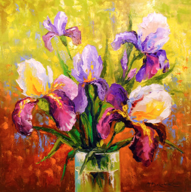 """Painting titled """"Bouquet of irises"""" by Olha, Original Art, Oil"""