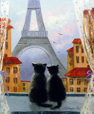"""Painting titled """"Cats Parisians"""" by Olha, Original Art, Oil"""