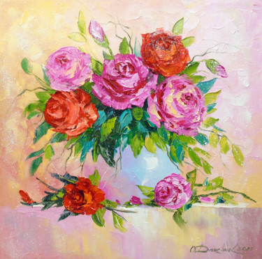 Flower Painting, oil, impressionism, artwork by Olha