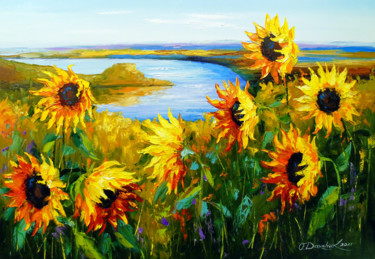 """Painting titled """"Sunflowers in the w…"""" by Olha, Original Art, Oil"""