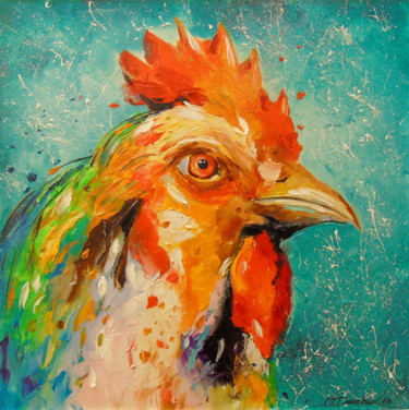 """Painting titled """"Rooster,"""" by Olha, Original Art, Oil"""