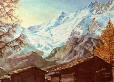 """Painting titled """"Mazots à Saas Fee"""" by Darnal, Original Art, Oil"""
