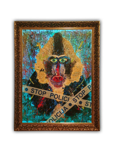 """Painting titled """"MONKEY IN CREDIT"""" by Darth Victorious, Original Art, Oil Mounted on Plexiglass"""