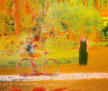 """Photography titled """"Girl on Bicycle"""" by Dave Collier (Collimost), Original Art, Manipulated Photography"""