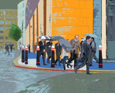 """Digital Arts titled """"Umbrellas in the Ci…"""" by Dave Collier (Collimost), Original Art, Digital Painting"""
