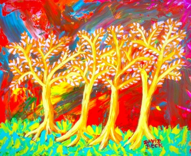 """Painting titled """"Forest landscape"""" by David Beck, Original Art, Acrylic"""