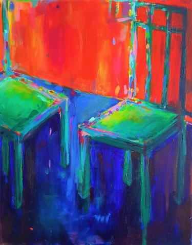 """Painting titled """"Green Chairs"""" by Dawn Underwood, Original Art, Acrylic"""