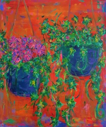 """Painting titled """"Hanging Baskets"""" by Dawn Underwood, Original Art, Acrylic"""