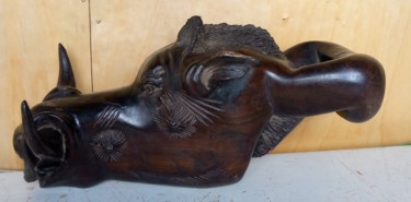 Animal Sculpture, wood, conceptual art, artwork by Obed Omwange