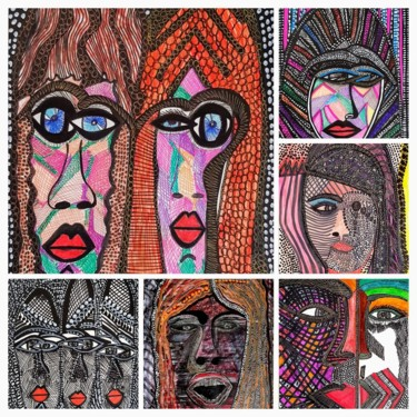 """Drawing titled """"Faces expressive co…"""" by Mirit Ben-Nun, Original Art, Ink"""