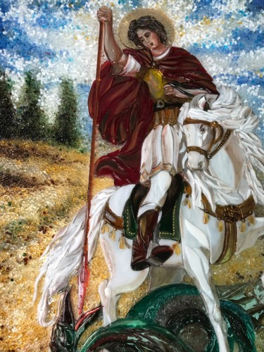 """Painting titled """"St. George the Vict…"""" by Decus Art Glass, Original Art, Glass"""