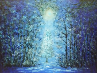 """Painting titled """"Winter Dream"""" by Sudarshan Goswami Sonu, Original Art, Acrylic"""