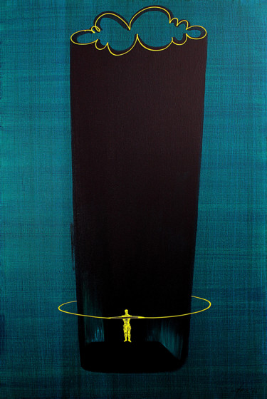 """Painting titled """"figure on stage"""" by Dek, Original Art, Acrylic"""