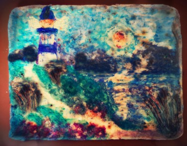 """Painting titled """"To the lighthouse"""" by Diana Surge, Original Art, Soap"""