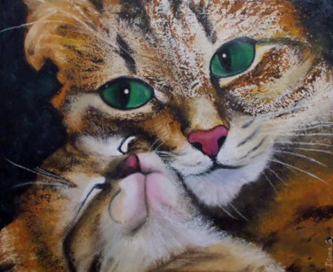 """Painting titled """"Amore di mamma"""" by Diana Giusto, Original Art, Oil"""