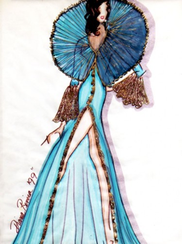 """Drawing titled """"Elizabethan Robe"""" by Diana Rivera, Original Art, Other"""