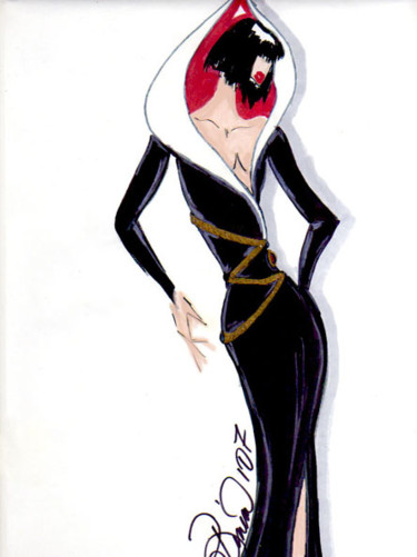 """Drawing titled """"Black Tulip Couture"""" by Diana Rivera, Original Art, Other"""