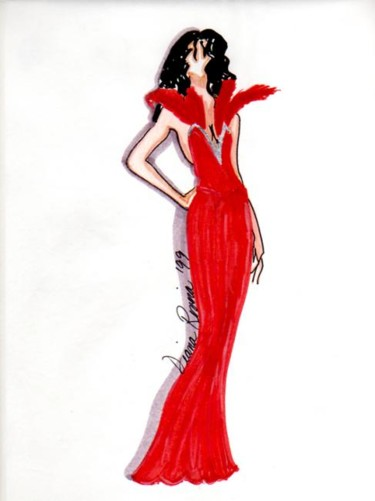 """Drawing titled """"Can Can Couture Red"""" by Diana Rivera, Original Art, Other"""