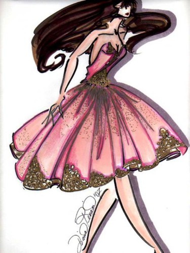"""Drawing titled """"Pink Ballerina"""" by Diana Rivera, Original Art, Other"""