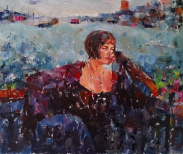 """Painting titled """"Her name is Violetta"""" by Dilshod Khudayorov, Original Art, Oil Mounted on Stretcher frame"""