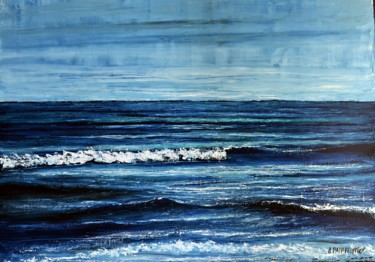 """Painting titled """"Endless Blue 3"""" by Dimitra Papageorgiou, Original Art, Oil"""