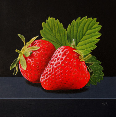 """Painting titled """"Strawberry Duo"""" by Dietrich Moravec, Original Art, Acrylic Mounted on Wood Panel"""