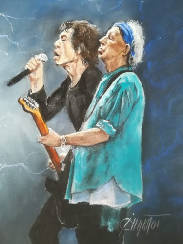 """Drawing titled """"The Rolling Stones"""" by Isabelle Charmot, Original Art, Pastel"""