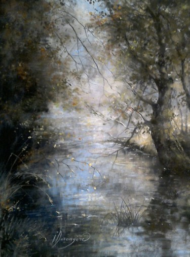 Forest Drawing, pastel, impressionism, artwork by Isabelle Charmot