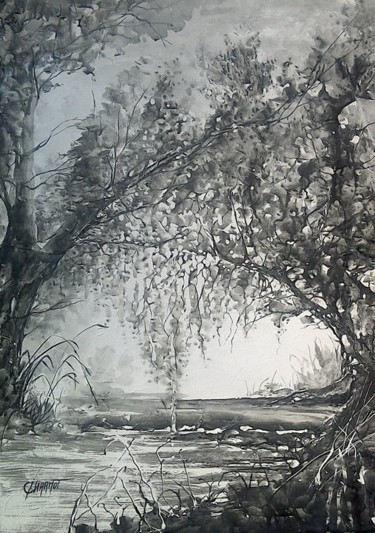 Tree Painting, ink, expressionism, artwork by Isabelle Charmot