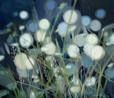 """Painting titled """"Meadow lights"""" by Dita Luse, Original Art, Oil Mounted on Stretcher frame"""