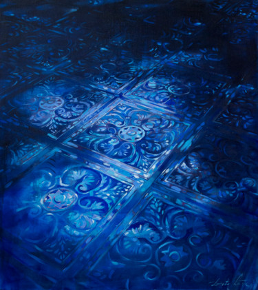 """Painting titled """"Blue floor"""" by Dita Luse, Original Art, Oil"""