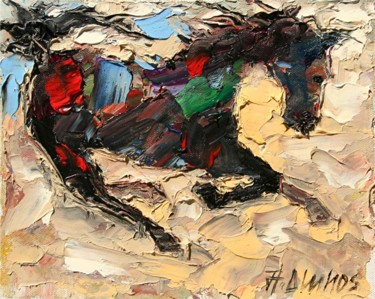 """Painting titled """"""""Cheval Galopant"""" b…"""" by Andre, Yary, & Peter Dluhos, Original Art, Oil"""
