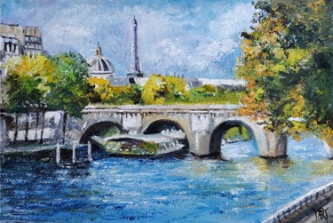 """Painting titled """"""""On the Seine River…"""" by Andre, Yary, & Peter Dluhos, Original Art, Oil Mounted on Wood Panel"""
