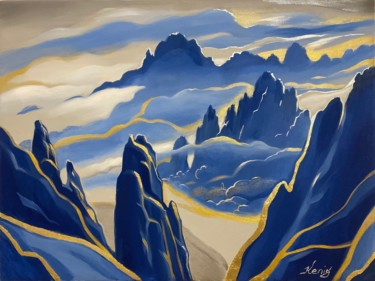 """Painting titled """"Moonlight Mountains"""" by Dmitry King, Original Art, Acrylic"""