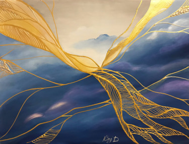 """Painting titled """"The Phoenix Bird Fl…"""" by Dmitry King, Original Art, Acrylic Mounted on Stretcher frame"""
