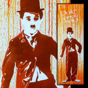 """Painting titled """"Charlie Chaplin"""" by Dol, Original Art, Acrylic"""