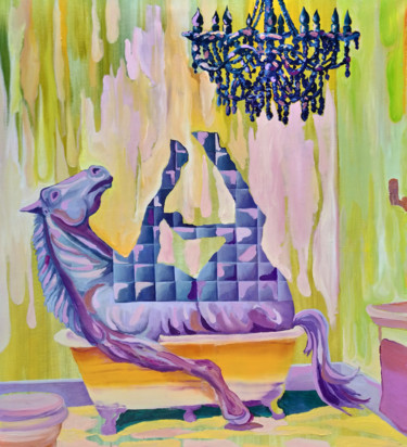 """Painting titled """"Warm Bath"""" by Dominic Virtosu, Original Art, Oil Mounted on Stretcher frame"""
