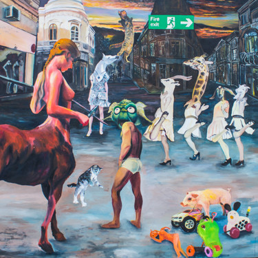 """Painting titled """"Amazons"""" by Dominic Virtosu, Original Art, Oil Mounted on Stretcher frame"""