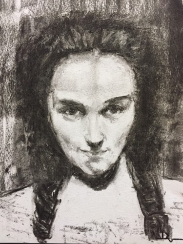 """Drawing titled """"Study from G.Courbe…"""" by Dominique Dève, Original Art, Charcoal"""