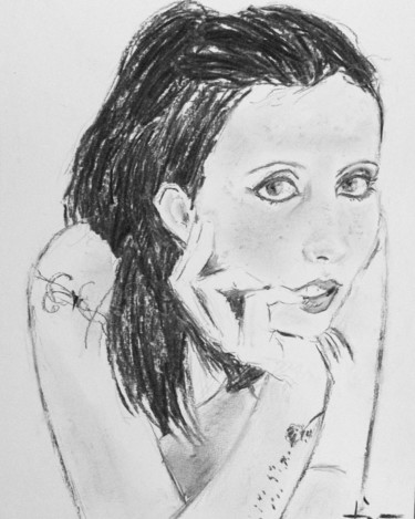 """Drawing titled """"Dara"""" by Dominique Dève, Original Art, Charcoal"""