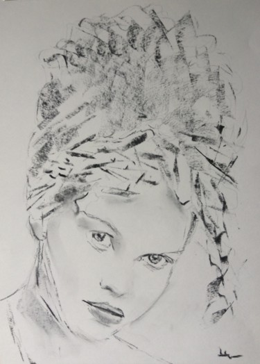 """Drawing titled """"Muse1"""" by Dominique Dève, Original Art, Charcoal"""