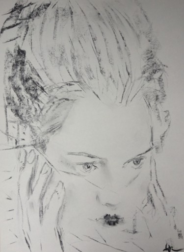 """Drawing titled """"Muse 2"""" by Dominique Dève, Original Art, Charcoal"""