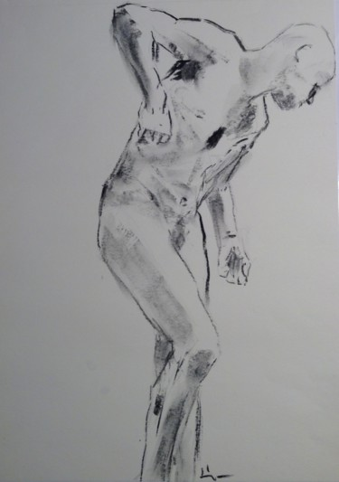 """Drawing titled """"Dominic"""" by Dominique Dève, Original Art, Charcoal"""