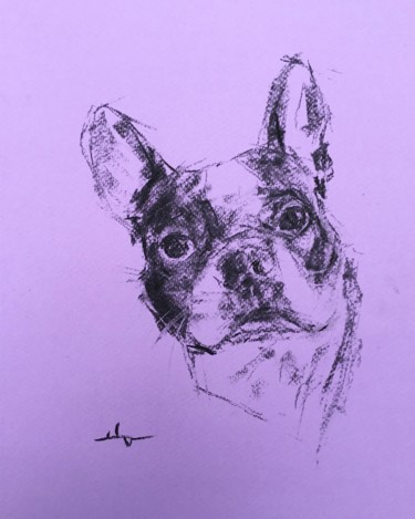 """Drawing titled """"Buddy"""" by Dominique Dève, Original Art, Charcoal"""