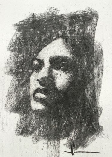 """Drawing titled """"Madone"""" by Dominique Dève, Original Art, Charcoal"""