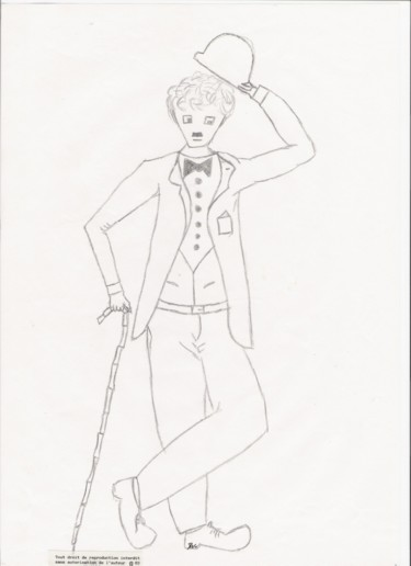 """Drawing titled """"Charlot"""" by Dominique Frampier, Original Art, Pencil"""